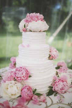 pink peony wedding cake - simple & beautiful!