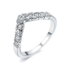 Redbarry 18k Platinum Plated Letter V Design Rhinestone Paved Fashion Women Rings, Size 6.5. ★★Trendy letter V design, paved with clear round cut Austria crystal, nickel and lead free, finished in high polish 18k rose and white gold plated, vivid fashion style for senior girls and any occasions. ★★Size: 5.5 / 6 / 6.5 / 7 / 8 / 9 ★Net Weight: 1.9g. ★★Warm Prompt: <br> 1. Differences in Color May Be Caused by Reflection of Computer Or light When Taking Pictures. <br> 2. Please Often Clean…
