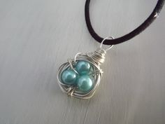 Pearl Pendant,Wire Wrapped Pearl Necklace,Handmade Nest, 3 Pearl Pendant, Mother's Day - pinned by pin4etsy.com