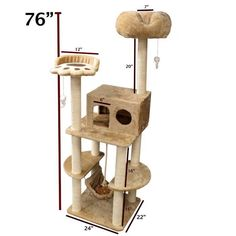 The ultimate cat playground and resting place that features two hanging mouse toys and a hanging rope, a plush elevated cat bed, a viewing paw perch, a hammock, and an enclosed residence for privacy.