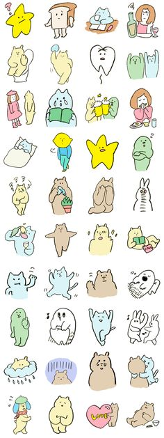 sasakinana characters – LINE stickers Illustration Sketches, Illustrations And Posters, Character Illustration, Graphic Design Illustration, Character Drawing, Character Design, Illustration Mignonne, Line Sticker, Emoticon