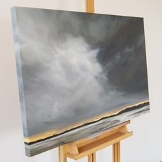 | FALLING DEEP | 24 x 30 Landscape Photos, Abstract Landscape, Landscape Paintings, Abstract Art, Landscapes, Watercolor Clouds, Watercolor Art, Gold Leaf Art, Monochrom