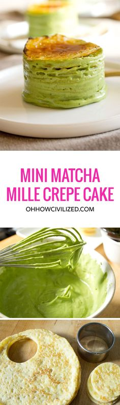 Mini Matcha (Green Tea) Mille Crepe Cake | A healthy twist on a delicious recipe.