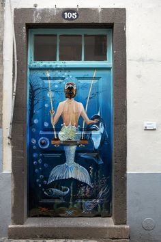 Amazing Graffiti of child / baby tagger, by SmogOne Mermaid on the door, Island of Madeira, Portugal Cool Doors, Unique Doors, Street Art, Porte Cochere, Painted Doors, Door Knockers, Doorway, Door Design, Exterior Design