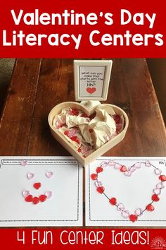 Valentine's Day Literacy Centers Literacy Activities, Literacy Centers, Activities For Kids, Crafts For Kids, Valentines Day Activities, Valentine Day Gifts, Inspired Learning, Beginning Sounds, Student Gifts