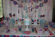 Sweet Simplicity Bakery: Disney Frozen Theme Birthday Dessert and Candy Buffet display table and Olaf Cake