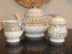 Gien France Raphael Teapot Creamer and Sugar Bowl Earthenware, Sugar Bowl, Teapot, Pottery, France, Tableware, Color, Tea Pot, Ceramica
