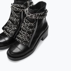 Image 3 of LEATHER LACE-UP BOOTIES WITH CHAINS from Zara