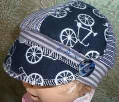 Blue bicycles and stripes and plaid toddler by jaxhatsmontana (Accessories, Hat, Cap, knit, clothing, tshirt, recycled, jax, upcycled, eco earth friendly, one of a kind, toddler jax hat, handmade button, bicycles, stripes, plaid)