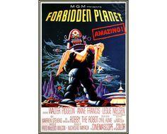 Forbiden Planet 1956 SciFi Film Vintage Poster Retro Art Print  Free US Post Low European Posta by VintagePosterPrints on Etsy