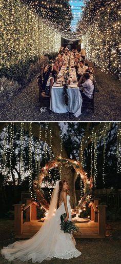 awsome wedding decoration ideas with string lights #diyweddingdecorations