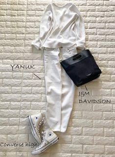 春コート脱いだら何着てる?1枚で着映えの差がつく服【高見えプチプラファッション #13】 | ファッション誌Marisol(マリソル) ONLINE 40代をもっとキレイに。女っぷり上々! Emma Style, White Pants, Fasion, Daily Fashion, Autumn Winter Fashion, Converse, Dressing, Street Style, Denim