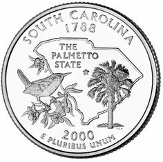 The winning South Carolina state quarter design from 2000. See earlier proposed designs here: http://quarterdesigns.com/proposed/southcar.html
