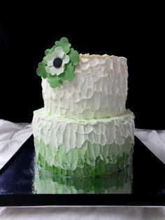 green ombre buttercream cake