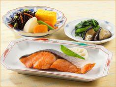 気くばり御膳 紅鮭の塩焼きとおかず6種