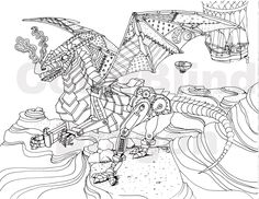 Steampunk Coloring Page Pages Flying Dragon Chinese New Year Adult Mechanical Balloons Wings