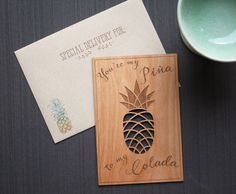 Pineapple Love Wood Card - I Love You Card - Hand Lined Envelope #trielegance