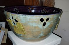 """We have some beautiful and well priced pottery from a local artist that ALWAYS sells out quick. This bowl is 10.5"""" x 6"""" deep and is priced at $40."""