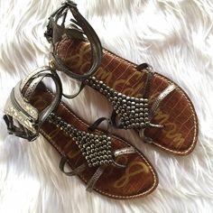 Sam Edelman Beaded Metallic Gladiator Sandal Pewter Gladiator Sandals • Condition: Used. Light wear on bottom. No other noted defects. • NO TRADES. Sam Edelman Shoes Sandals