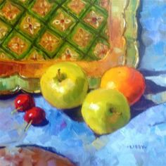 """Apples and Tray"" - Original Fine Art for Sale - © Libby Anderson"