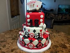 Casino theme birthday cake for my sons 18th birthday