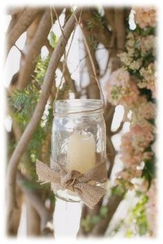 Candles in Mason Jars with Burnap Detail. Cinque Terre Wedding.