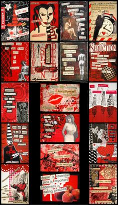 This ATC swap featured found poetry cards, they could be any theme. Only the colors red black and white could be used when creating them!