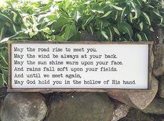 Irish Blessing May the road rise ro meet you Distressed Framed Wood Sign
