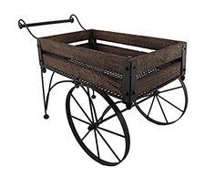 Rustic Wood And Metal Indoor/Outdoor 2 Wheeled Wagon Cart/Planter
