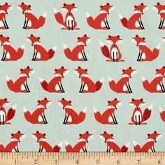 Forest Friends Foxes on Aqua 100% Cotton Fabric by Makower FQ
