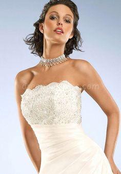 taffeta a-line strapless floor-length with beads and pleats wedding dress - Dreamy-dress.com