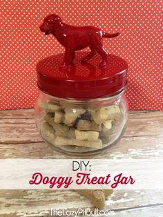 DIY: Easy to Make Doggy Treat Jar | http://www.thelazypitbull.com/2015/01/diy-easy-make-doggy-treat-jar/
