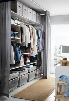 Bedroom Storage Ideas - Organize the wardrobe you have - while making space for another! From wardrobes to nightstands, check out IKEA bedroom storage solutions to fit you, your space and all of your clothes, shoes & accessories! Bedroom Storage For Small Rooms, Ikea Bedroom Storage, Small Space Bedroom, Clothes Storage Ideas For Small Spaces, Bedroom Storage Ideas For Small Spaces, Bedroom Storage Solutions, Clothes Storage Solutions, Storage Systems, Furniture For Small Spaces