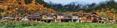 Panorama of Shuzheng Village, the busiest Tibetan village in the valley. Jiuzhaigou Nature Preserve and National Park in Sichuan Province, China.