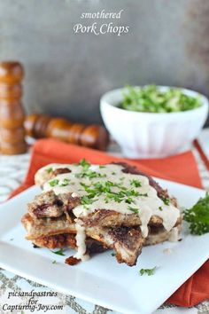 Smothered Pork Chop recipe on Capturing-Joy,com!  Add this recipe to your dinner rotation!