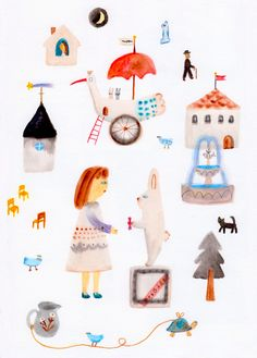 "makoto-maruyama: ""I have got to go. Nostalgic Art, Collage, Cute Paintings, Japanese Artists, Little Gifts, Graphic Illustration, New Art, Art For Kids, To Go"