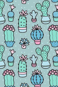Pretty Cacti by zoel Iphone Wallpaper Smoke, Phone Wallpaper Images, Locked Wallpaper, Cute Wallpaper Backgrounds, Cute Cartoon Wallpapers, Summer Wallpaper, Pretty Wallpapers, Galaxy Wallpaper, Vintage Flowers Wallpaper
