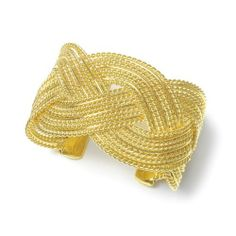 "Braided Gold Cuff Bracelet Melissa Kay Collection. $42.95. Our elegant braided cuff bracelet in rich gold plating offers a fabulous tailored accessory for any wedding or special occasion and is also a great jewelry option for casual wear. This versatile cuff bracelet measures 1 3/4"" w. Lead Free Alloy. Gold-plated"