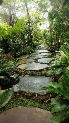49 Beautiful Backyard Garden Landscaping Ideas That Looks Great - tropical garden ideas Tropical Garden Design, Tropical Landscaping, Garden Landscaping, Landscaping Ideas, Tropical Gardens, Lawn And Garden, Garden Paths, The Secret Garden, Parcs