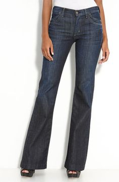 I love soft, dark flare jeans to wear with heels or flats, depending on the length.