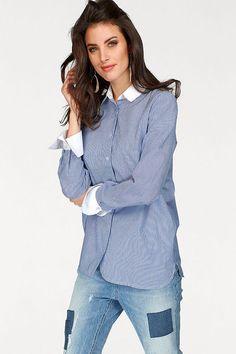 Aniston Mode besticht durch schlichtes Design in hoher Qualität. Mit dieser modischen Hemdbluse überzeugst du in jeder Hinsicht. #AnistonbyBAUR #Bluse #Hemdbluse #Blau #style