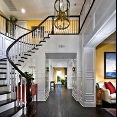 Entryway and curved staircase