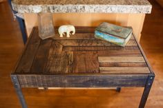 Repurposed Pallet Wood Desk with Metal Legs