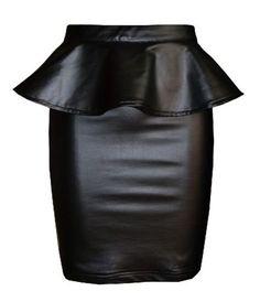 FashionMark Womens Plus Size Wet Look Peplum Pencil Skirt Ladies Celebrity PVC Leather Skirt – Black – Sizes 6-20