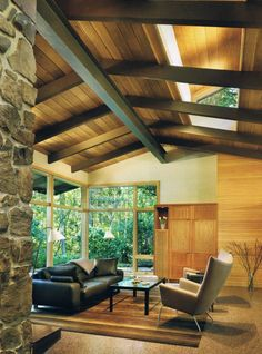 Love the post & beam ceiling wood tones.