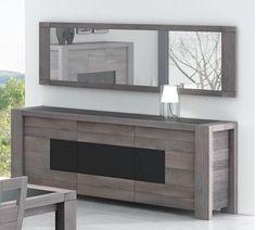 Buffet bas 2 portes + 2 tiroirs OTAWA coloris pin foncé cendré/blanc  Vente