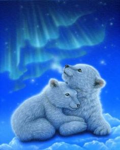 """""""Beyond the Aulora""""?Polar Bears Acrylic on canvas 2011 Private Collection Gallery Big - Art of Kentaro Nishino Animal Paintings, Animal Drawings, Cute Drawings, Baby Polar Bears, Cute Teddy Bears, Baby Animals Super Cute, Cute Little Animals, Bear Pictures, Cute Animal Pictures"""