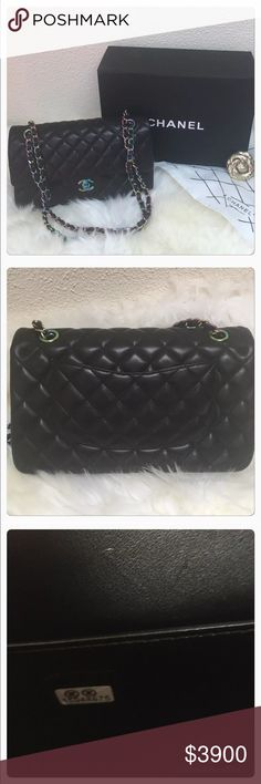 """NWOT 👜 Chanel Double Flap w/ Rainbow Hardware 👜 Brand New! READ!!!  More Pics Upon Request for 100% Interested Buyer!   Authentic Chanel Medium Classic Flap with Rainbow Hardware. Gorgeous!  Comes with -  •Chanel Box - Has Some Wear  •Dust Bag  •Chanel Ribbon  •Authenticity Card  Please see photos with zoom for detail. Measurements:12""""L x 9""""H x 3.5""""W Color: Black with Rainbow Hardware   -Pal Only Please CHANEL Bags Shoulder Bags"""