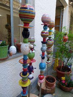 Gabi Winterl Keramik, Gartenstab, verschiedene Figuren
