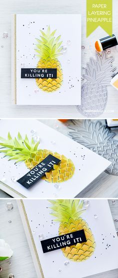 You're Killing It! Create a fun paper layering pineapple card with products from Hero Arts. For details, visit http://www.yanasmakula.com/?p=54361